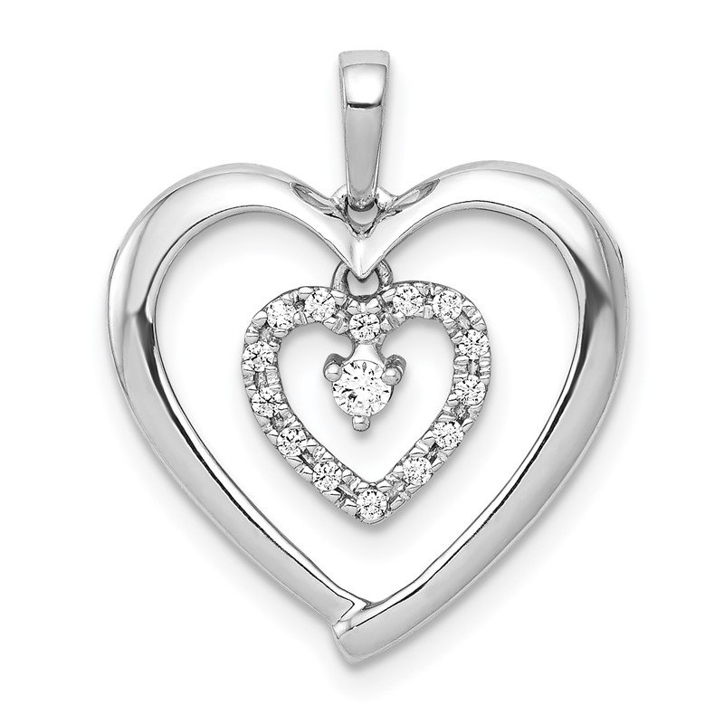Quality Gold 14k White Gold 1/10ct. Diamond Heart Dangle Pendant