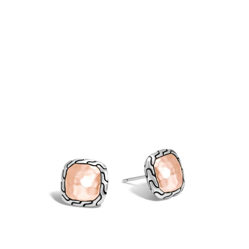 JOHN HARDY Classic Chain Stud Earring, Silver, Hammered 18K Rose Gold