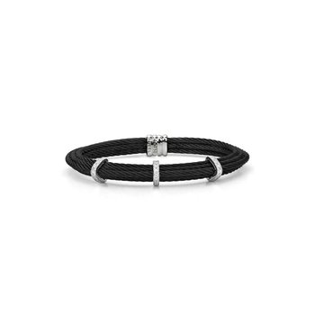 Black Cable Tiered Stackable Bracelet with Triple Diamond Station set in 18kt White Gold