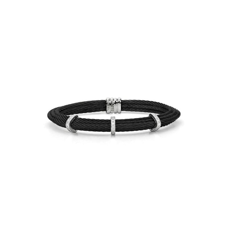 ALOR Black Cable Tiered Stackable Bracelet with Triple Diamond Station set in 18kt White Gold