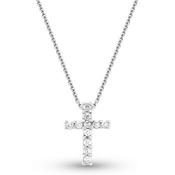 Diamond Cross Necklace in 14k White Gold with 11 Diamonds weighing .25ct tw.