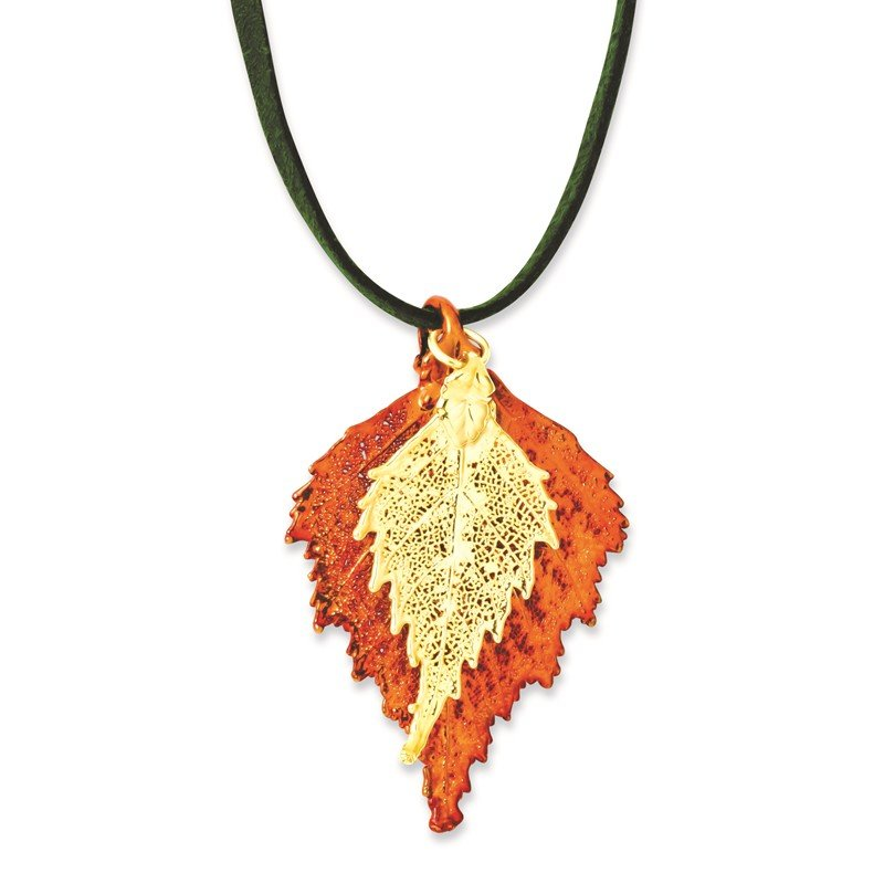 Iridescent Copper/24k Gold Dipped Double Birch Leaf Necklace