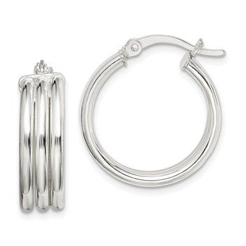 Sterling Silver Polished Grooved 6.5x20mm Hoop Earrings