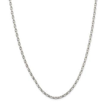Sterling Silver 3.2mm Oval Fancy Rolo Chain