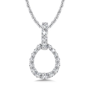 Diamond Pendant in Egg shape with Diamond Bale in 14K White Gold