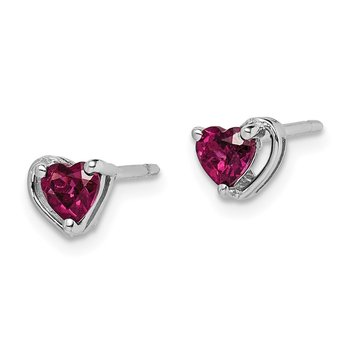 Sterling Silver Rhod-plated Rhodolite Garnet Heart Post Earrings