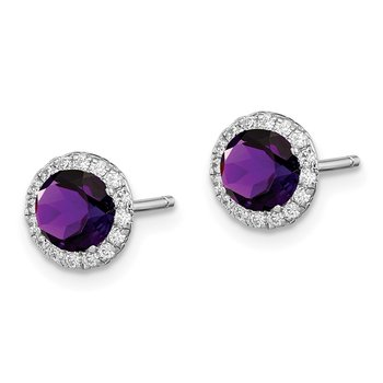 Sterling Silver Rhodium-plated Amethyst & CZ Post Earrings