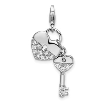 Sterling Silver Rhodium-plated CZ Heart and Key w/Lobster Clasp Charm