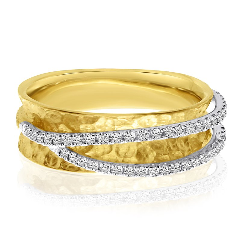 Color Merchants 14k Yellow Gold Diamond Crossover Ring