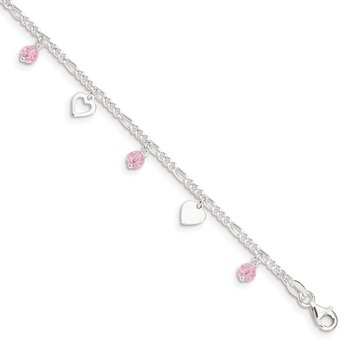 Sterling Silver 9 inch Heart and Rose Glass Plus 1in ext. Anklet