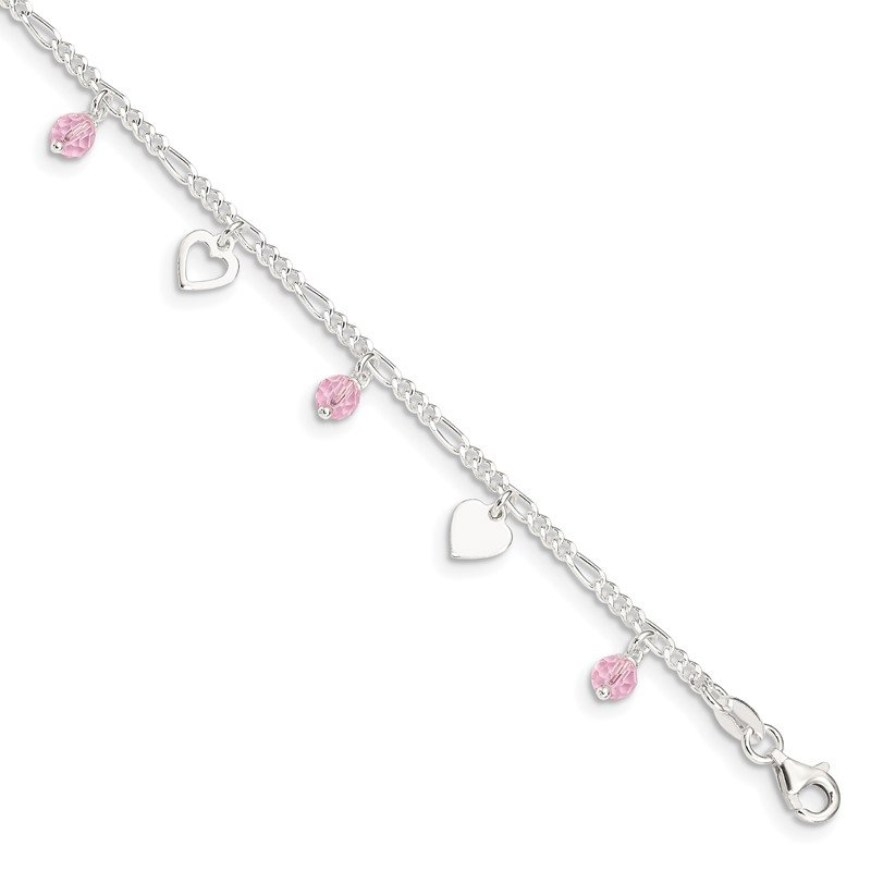 Quality Gold Sterling Silver Pink Glass Beads and Polished Hearts 1in w/ext. Anklet