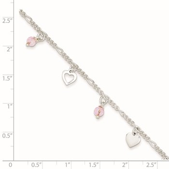 Sterling Silver Pink Glass Beads and Polished Hearts 1in w/ext. Anklet