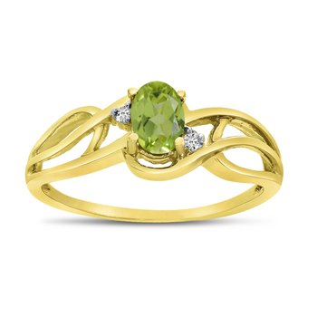 14k Yellow Gold Oval Peridot And Diamond Curve Ring