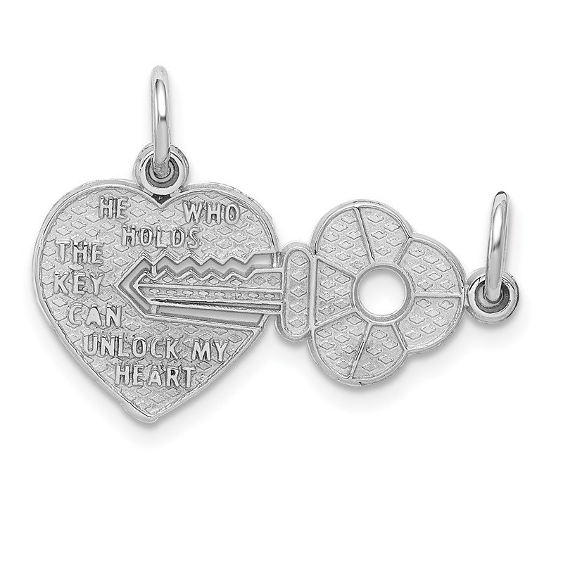 Quality Gold 14k White Gold Key and Heart Break-apart Charm