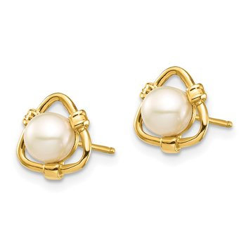 14k Madi K 4-5mm White Button Freshwater Cultured Pearl Stud Earrings