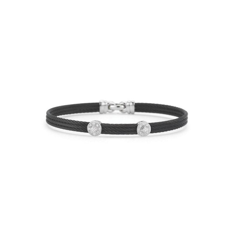 ALOR Black Cable Classic Stackable Bracelet with Triple Round Station set in 18kt White Gold