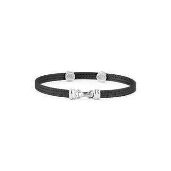 Black Cable Classic Stackable Bracelet with Triple Round Station set in 18kt White Gold