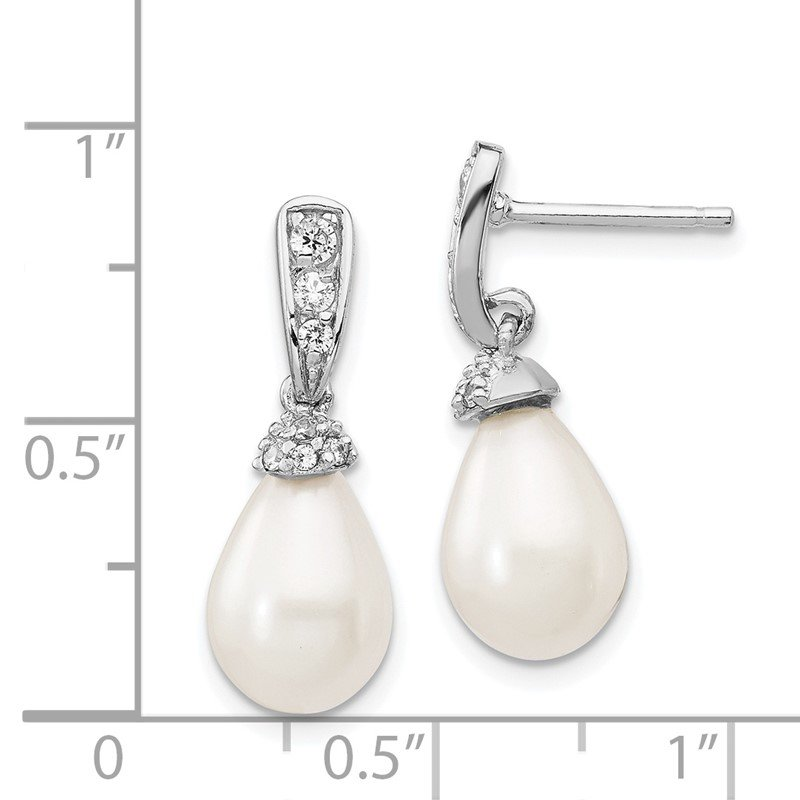 Cheryl M Cheryl M Sterling Silver Rhod Plated CZ & FWC Pearl Post Dangle Earrings