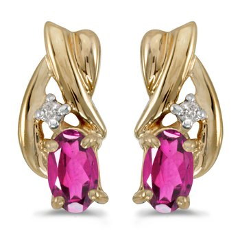 14k Yellow Gold Oval Pink Topaz And Diamond Earrings