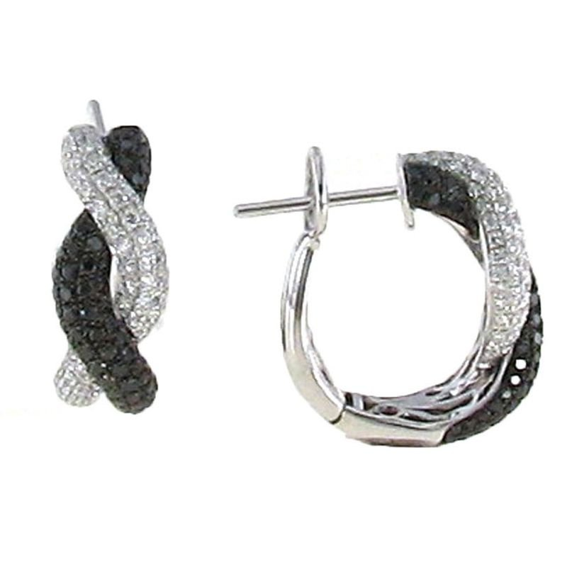 Roberto Coin 18Kt Gold Black And White Diamond Twist Earrings