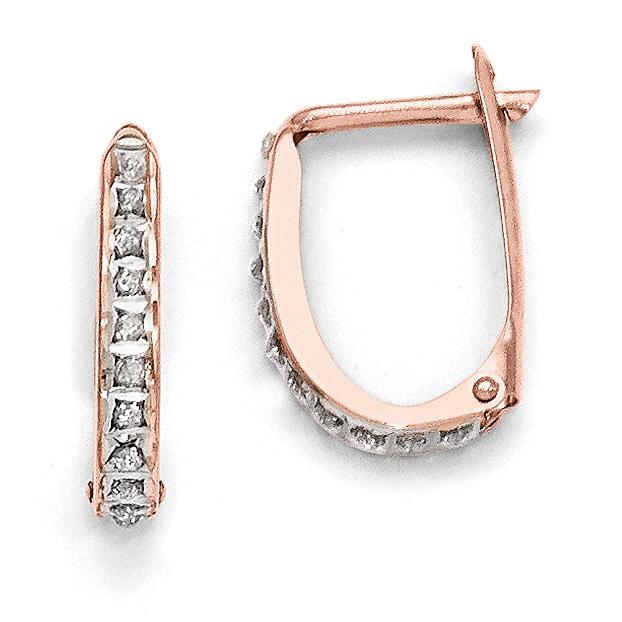14k Rose Gold Hinged Hoop Earrings