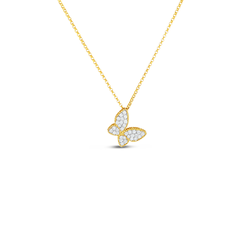 Roberto Coin 18Kt Gold Butterfly Pendant With Diamonds