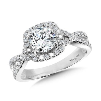 Crisscross Cushion-Shaped Halo Engagement Ring