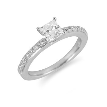 14K WG Diamond Prong Line Engagement Ring Mounting