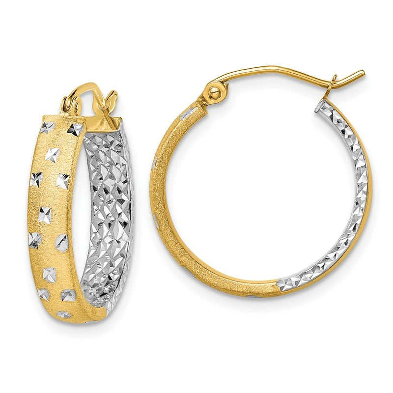 Quality Gold 14k with Rhodium Satin & Polished & Diamond-cut In/Out Hoop Earrings