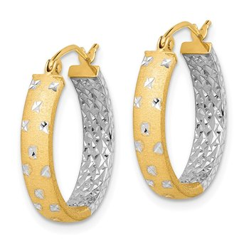 14k with Rhodium Satin & Polished & Diamond-cut In/Out Hoop Earrings
