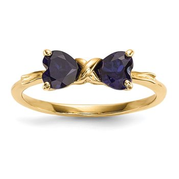 14k Gold Polished Created Sapphire Bow Ring