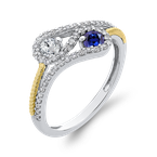 Essentials 10K White & Yellow Gold 1/4 Ct Diamond with 1/2 Ct White & Blue Sapphire Fashion Ring