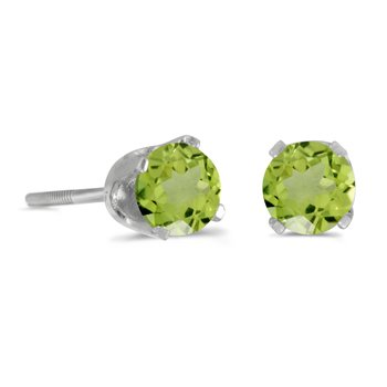 4 mm Round Peridot Screw-back Stud Earrings in 14k White Gold