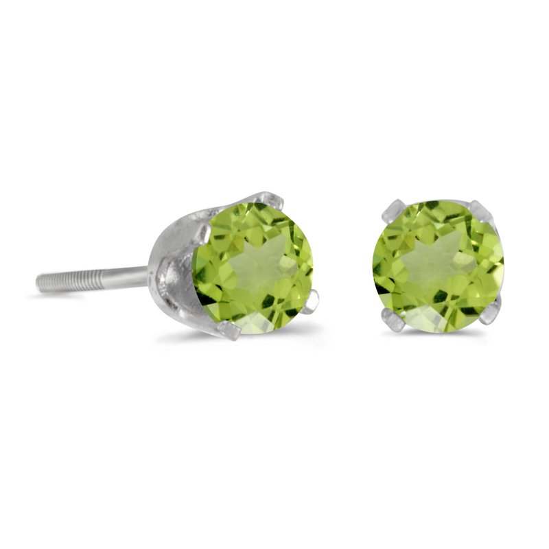 Color Merchants 4 mm Round Peridot Screw-back Stud Earrings in 14k White Gold