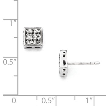 Sterling Silver Brilliant Embers Rhodium-plated CZ Square Post Earrings