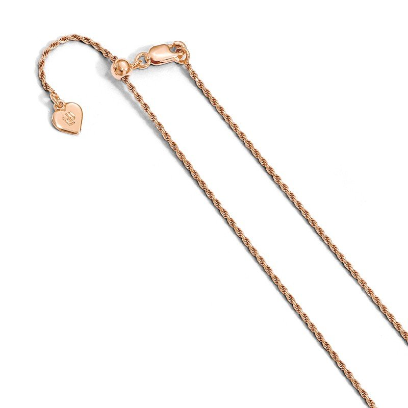 Leslie's Leslie's Sterling Silver Rose Gold-plated Adjustable 1.2mm D/C Rope Chain