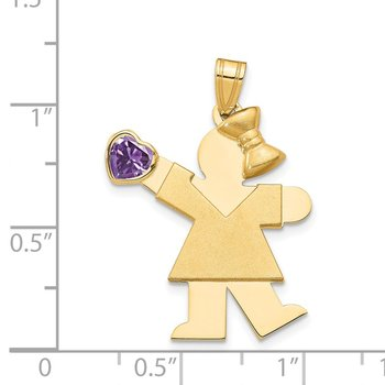 14k Girl with CZ February Birthstone Charm