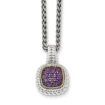 Sterling Silver w/14k and Black Rhodium Amethyst Necklace