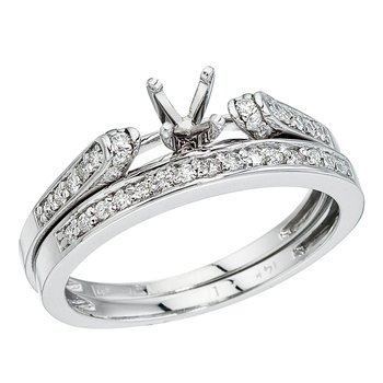 14K White Gold Bridal Ring Set