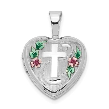 Sterling Silver Rhodium-plated Cross w/ Enamel Flowers 12mm Heart Locket