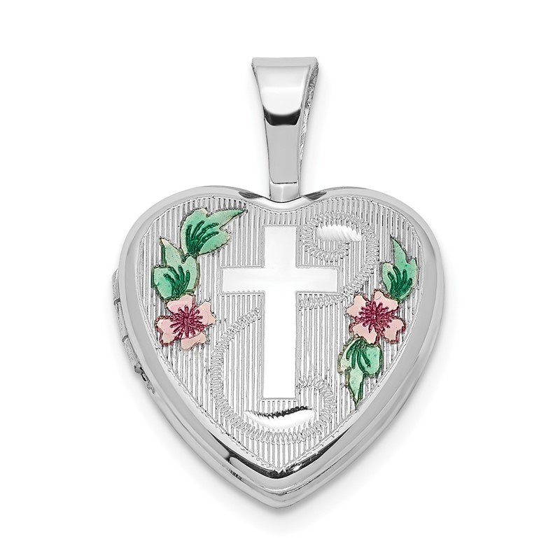 Quality Gold Sterling Silver Rhodium-plated Cross w/ Enamel Flowers 12mm Heart Locket