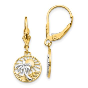 14k & Rhodium Palm Tree Leverback Earrings