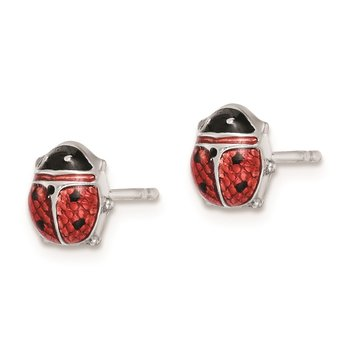 Sterling Silver Rhodium Polished Enameled Lady Bug Post Earrings