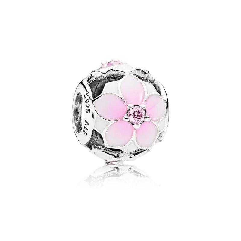 f0ccfda6d PANDORA Magnolia Bloom Charm, Pale Cerise Enamel Pink Cz. Stock # 792087PCZ