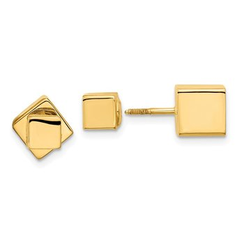 14k 5mm/7mm Cube Front & Back Post Screwback Earrings