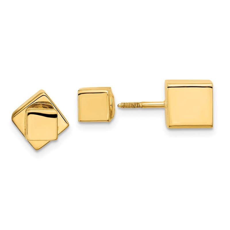 Quality Gold 14k 5mm/7mm Cube Front & Back Post Screwback Earrings