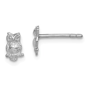 Sterling Silver RH Plated Child's Polished Owl Post Earrings