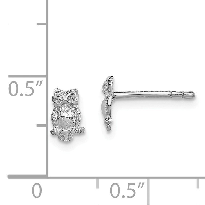 Quality Gold Sterling Silver RH Plated Child's Polished Owl Post Earrings