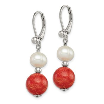 Sterling Silver FW Cultured Pearl/Stabilized Red Coral Earrings