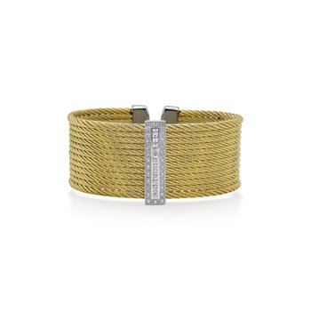 Limited Edition 40th Anniversary Cuff with Yellow Cable & Diamonds set in 18kt White Gold